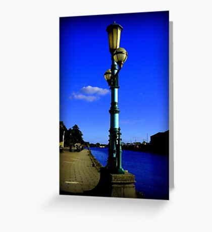 GREEN LAMP ON EXETER QUAY Greeting Card