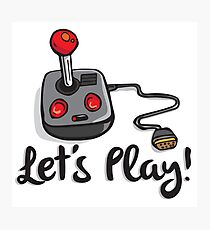 Old School Gaming Joystick - Let's Play Photographic Print