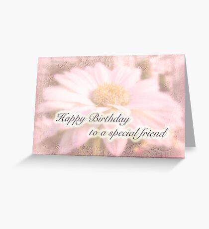 Birthday Special Friend Greeting Card - White Gerbera Daisy Greeting Card