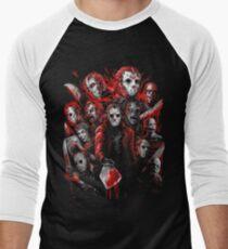 Camiseta ¾ bicolor para hombre Jason Voorhees (Muchas caras de)
