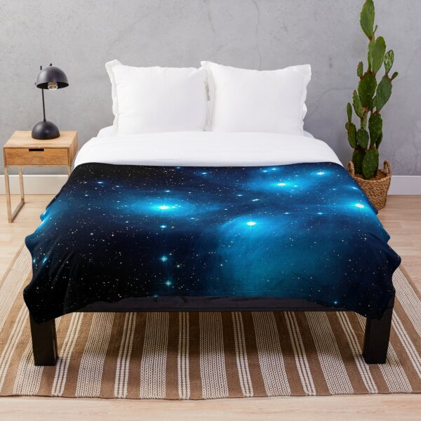 The Pleiades Star Cluster (M45) in the Constellation of Taurus, the Bull. Throw Blanket