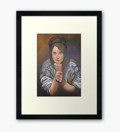 A Young German Woman In Traditional Dress Framed Print