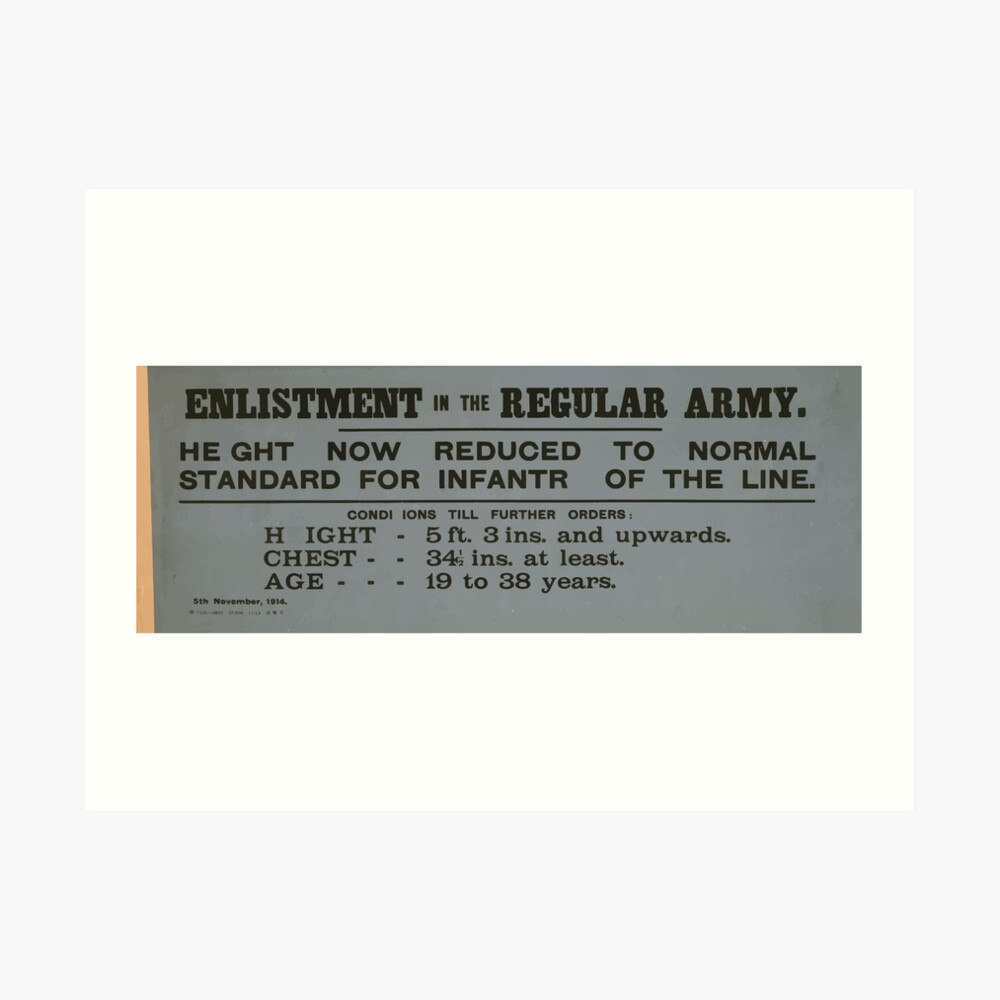 Enlistment in the regular army Height now reduced to normal standard for infantry of the line 077 Kunstdruck