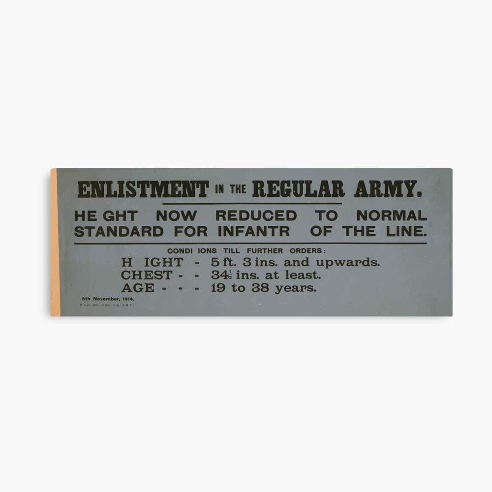 Enlistment in the regular army Height now reduced to normal standard for infantry of the line 077 Leinwanddruck