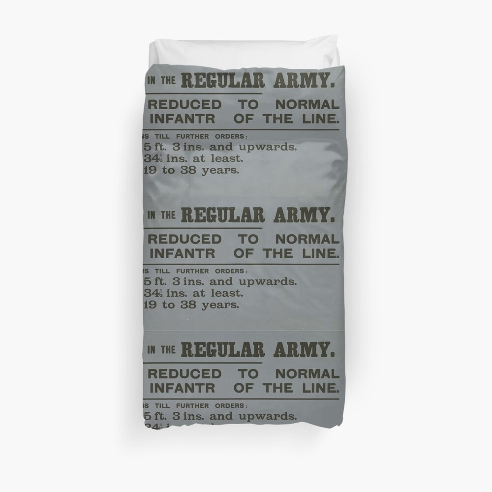 Enlistment in the regular army Height now reduced to normal standard for infantry of the line 077 Bettbezug