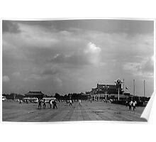 BW China pekin Tiananmen square 1970s Poster