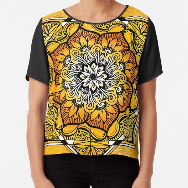 Orange Golden Floral Pattern Chiffon Top