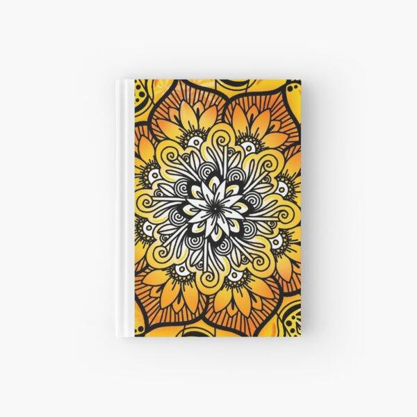 Orange Golden Floral Pattern Hardcover Journal