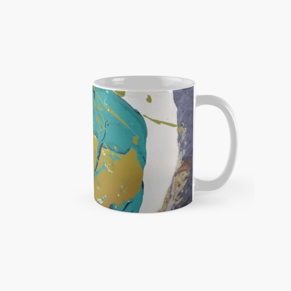 """Space Invader"" Aqua Green, Purple and White Geometric/Lyrical Abstract Art Galaxy - Jenny Meehan Classic Mug"