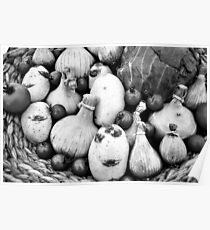 THERE IS A FUNNY FACE POTATO THERE!!! Food in B&W  Poster