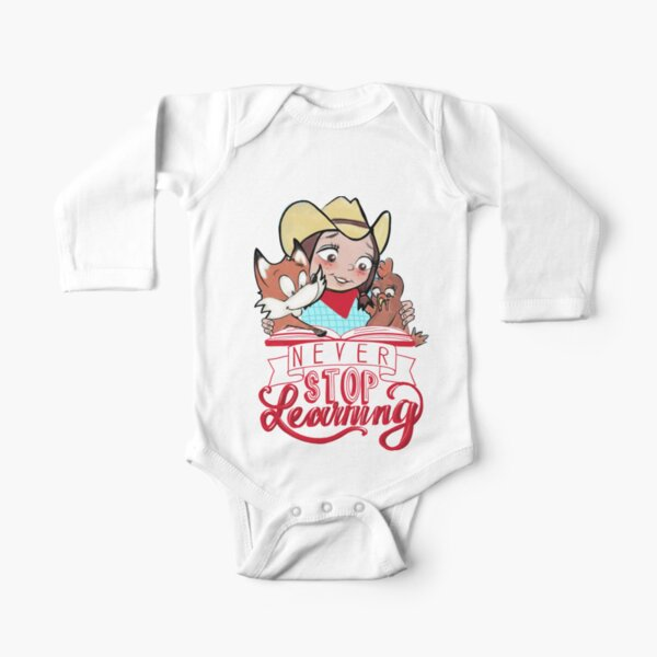 Never Stop Learning - Miss Jamie's Farm Long Sleeve Baby One-Piece