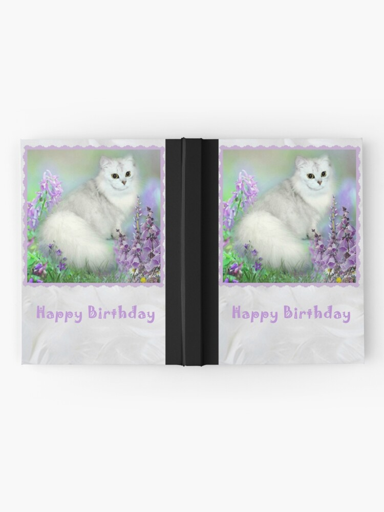Alternate view of Mistletoe The Silver Shaded Chinchilla Persian Cat Birthday Card Hardcover Journal