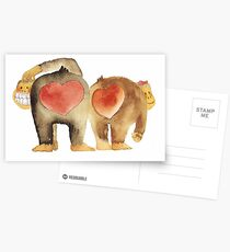 Valentine's Day Abstract Love Monkeys T-Shirt Postcards