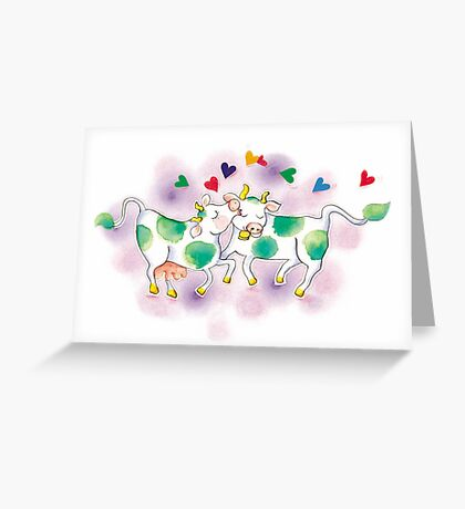 """Valentine's Day """"Love Cows"""" T-Shirt Greeting Card"""