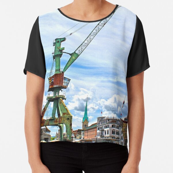 The port crane, Zurich, Switzerland Chiffon Top