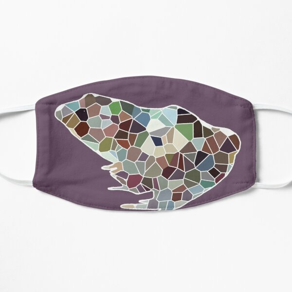 Purple geometrical frog Flat Mask