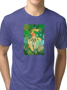 Vermilion Goldfish Swimming In Green Sea of Bubbles Tri-blend T-Shirt