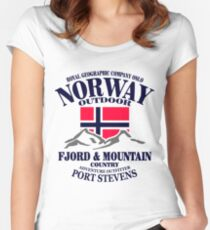 Norway - Fjord & Mountain Women's Fitted Scoop T-Shirt
