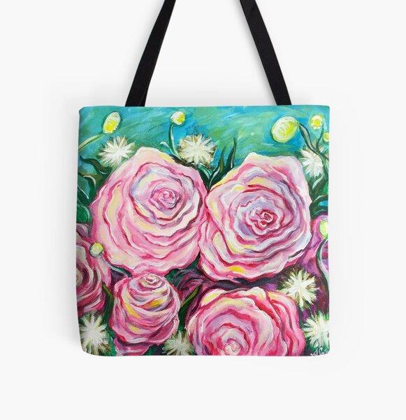 Pink Tea Roses All Over Print Tote Bag