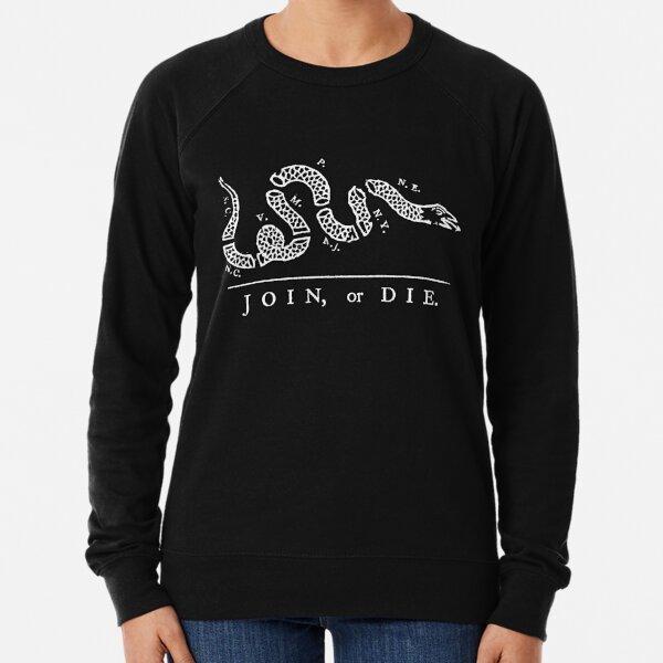 Join, or Die. Political cartoon, Benjamin Franklin, White on Black. Lightweight Sweatshirt