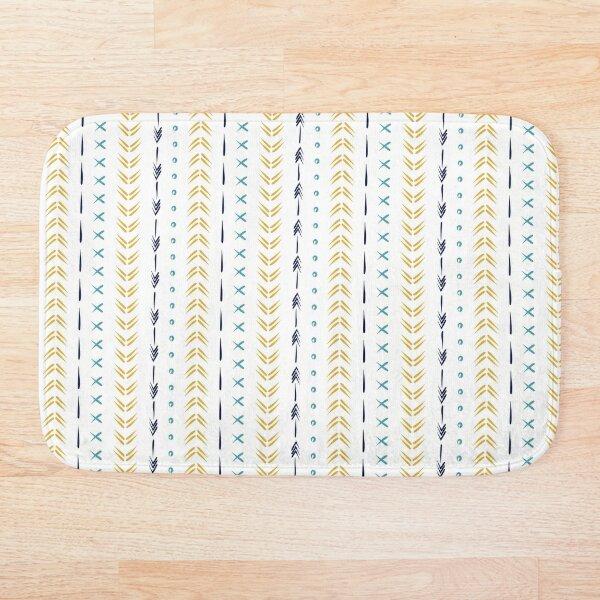 White yellow and blue boho tribal mudcloth pattern  Bath Mat