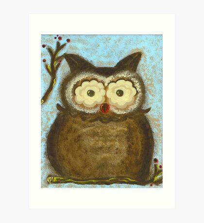 Owl Winterberry Art Print