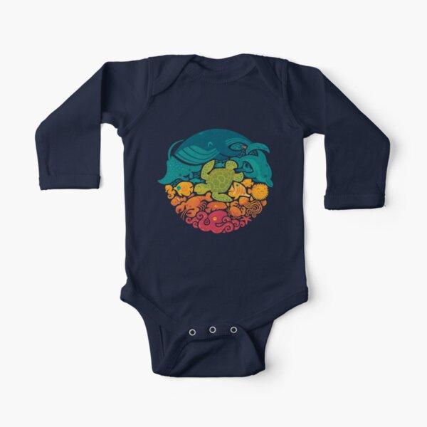 Aquatic Rainbow Long Sleeve Baby One-Piece