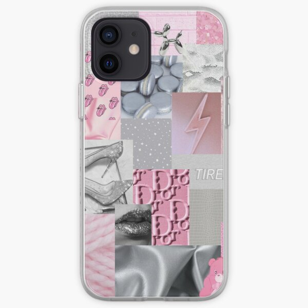 Pink and Silver Aesthetic Collage iPhone Soft Case