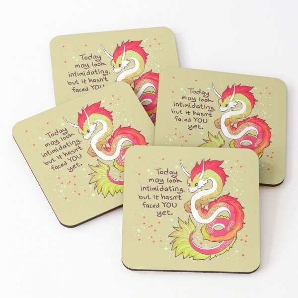 """""""Today May Look Intimidating"""" Encouraging Chinese Dragon Coasters (Set of 4)"""