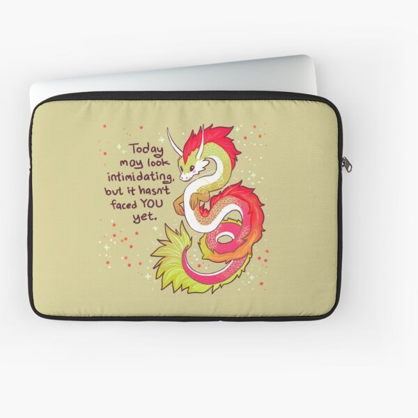 """Today May Look Intimidating"" Encouraging Chinese Dragon Laptop Sleeve"
