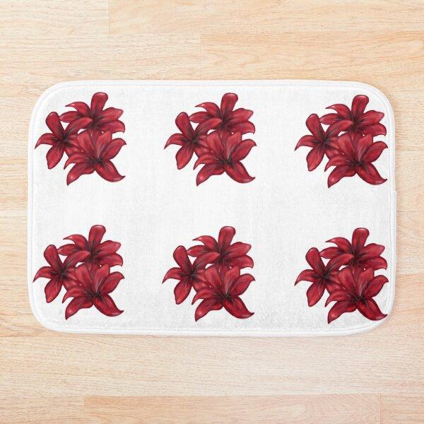 Rote Blüten / rote Blumen Badematte