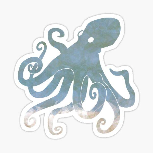 Octopus design, blue, black with pattern Sticker