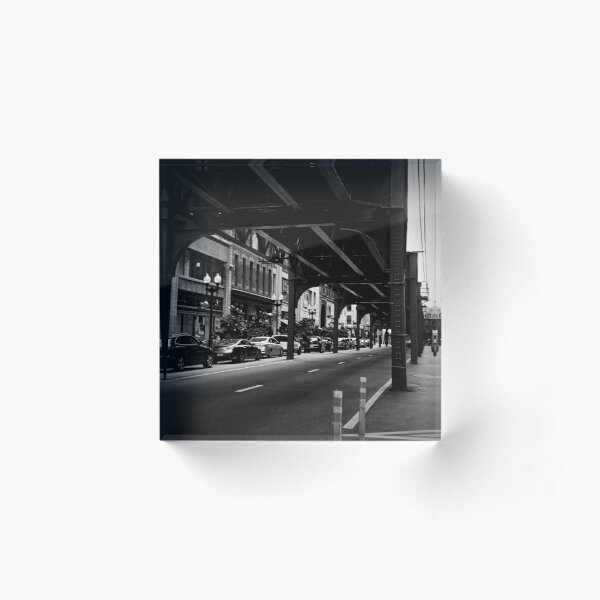 L Above. Chicago Loop Elevated Railway Photograph in Black and White Acrylic Block