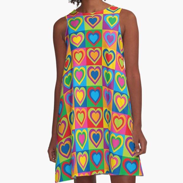 Pop Art Hearts A-Line Dress