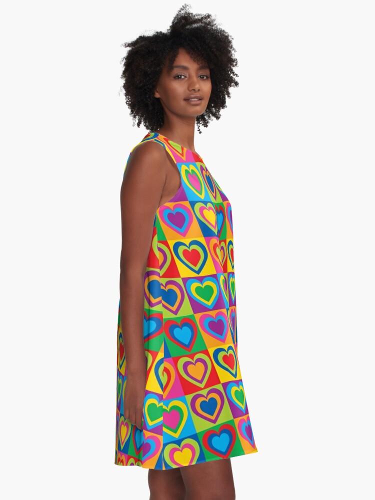 Alternate view of Pop Art Hearts A-Line Dress