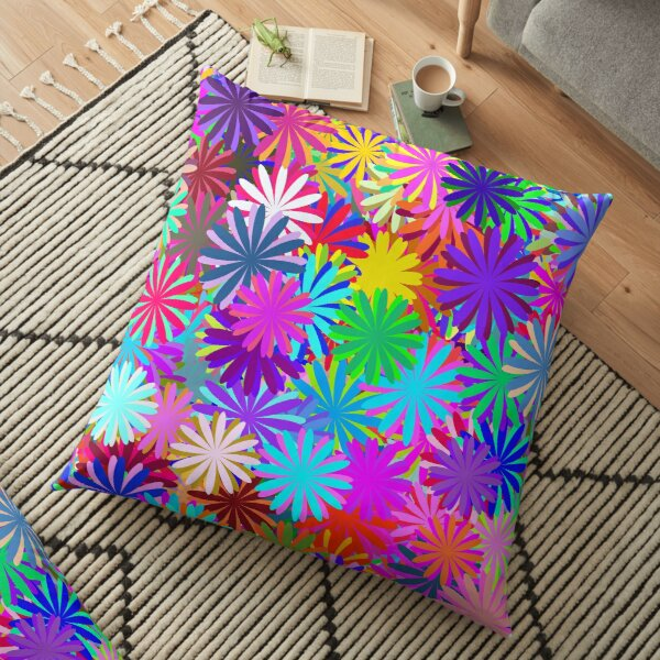 Meadow of Colorful Daisies Floor Pillow