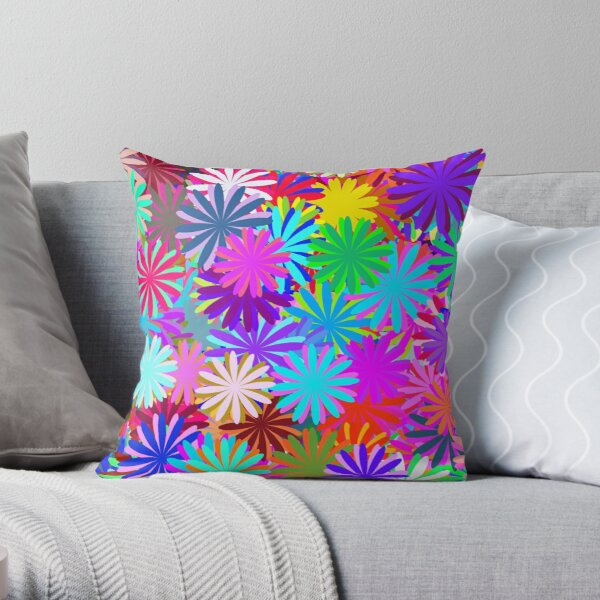 Meadow of Colorful Daisies Throw Pillow