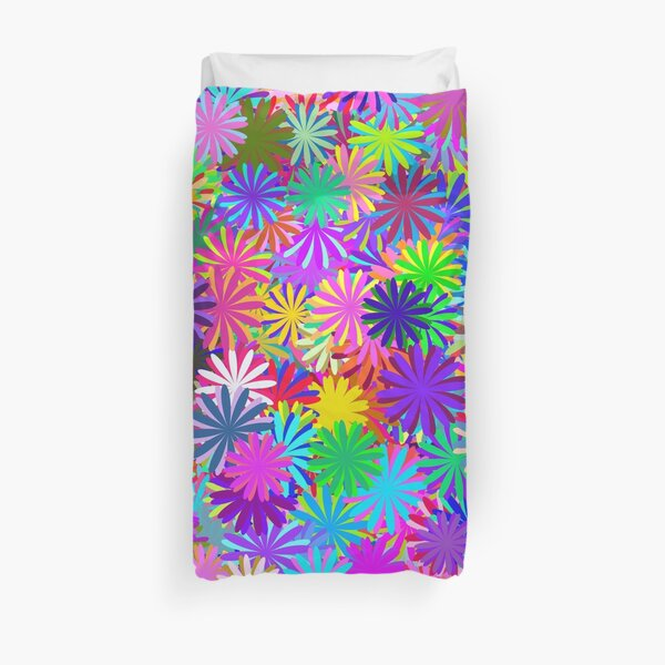 Meadow of Colorful Daisies Duvet Cover