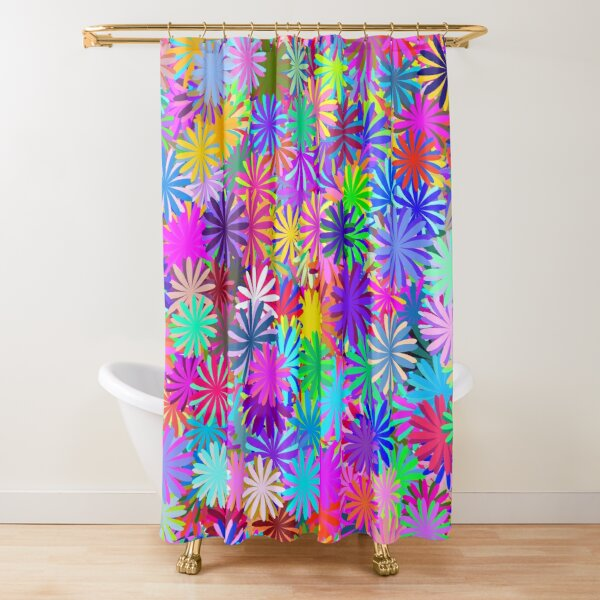 Meadow of Colorful Daisies Shower Curtain