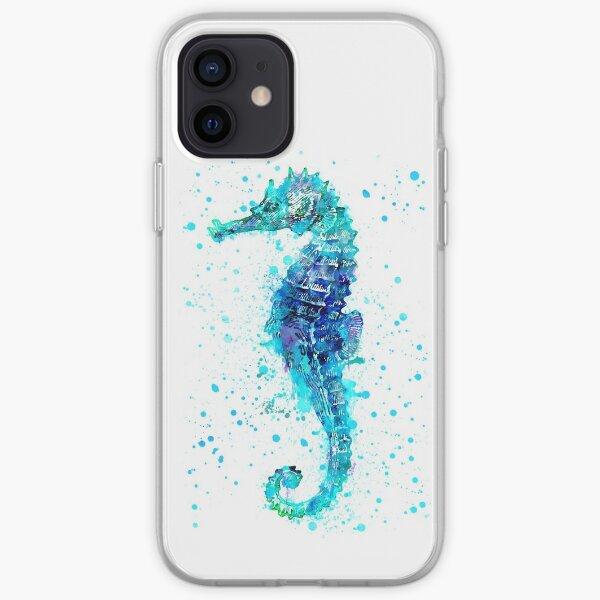 Blue Watercolor Seahorse iPhone Soft Case