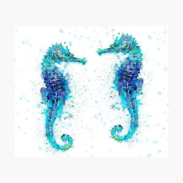 Blue Watercolor Seahorse Photographic Print