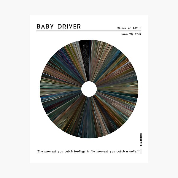 minimal_Baby Driver Warp Barcode Movie  Photographic Print