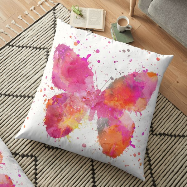 Artsy Butterfly pink and orange Floor Pillow