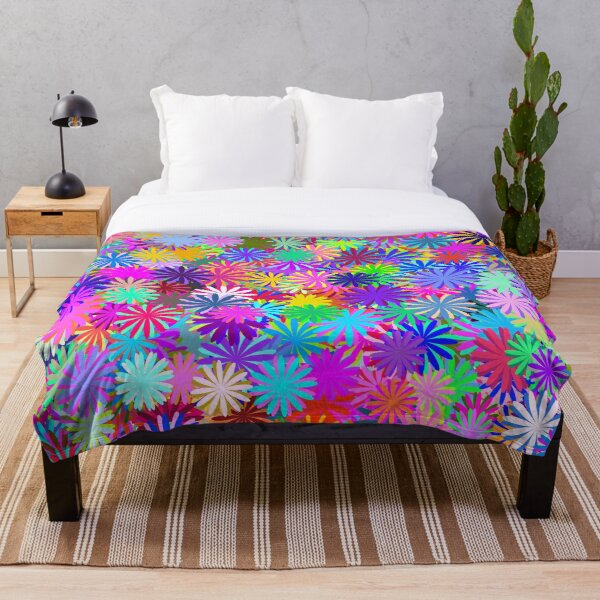 Meadow of Colorful Daisies Throw Blanket