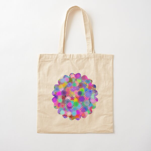 Meadow of Colorful Daisies Cotton Tote Bag