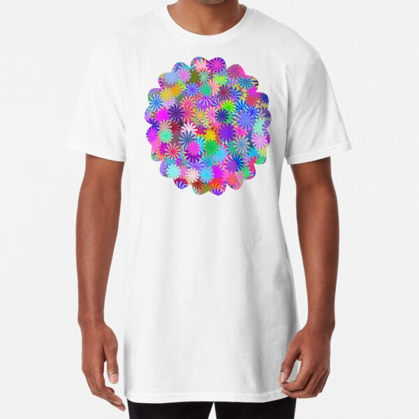 Meadow of Colorful Daisies Long T-Shirt