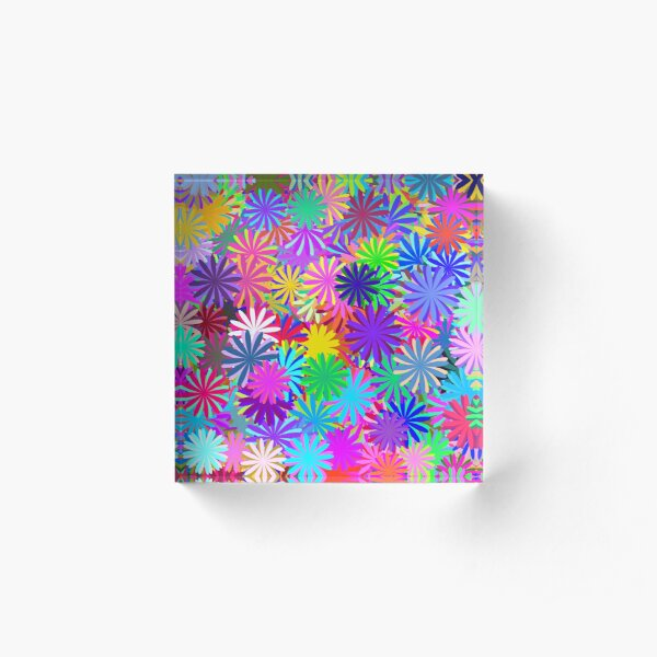 Meadow of Colorful Daisies Acrylic Block