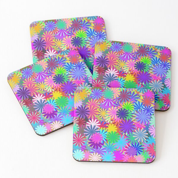 Meadow of Colorful Daisies Coasters (Set of 4)
