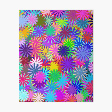 Meadow of Colorful Daisies Art Board Print
