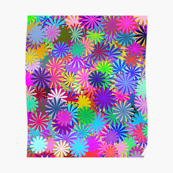 Meadow of Colorful Daisies Poster